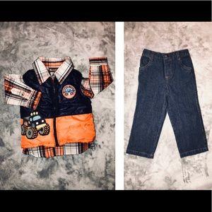 24m- Baby Boy Plaid Shirt, Puffer Vest & Jeans Set